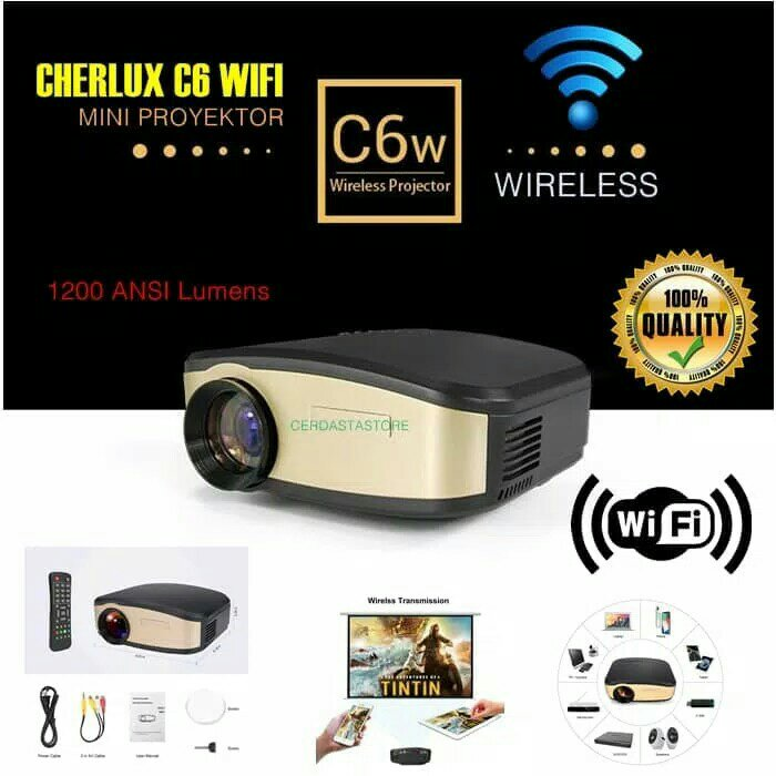 Mini Proyektor Cheerlux C6 Wireless / Projector WIFI 1200 Lumens Support TV