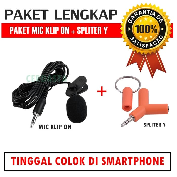 Paket Mic Klip on + Spliter Android Laptop Mic Jepit Portabel Mini