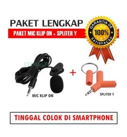 paket mic klip on smartphone spliter audio
